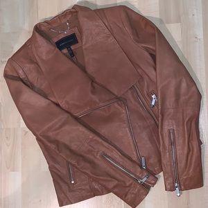BCBG Brown Peplum Back ruffle Leather Jacket NWOT